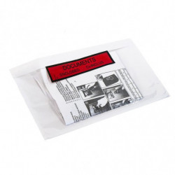 Pochette documents ci-inclus imprimée DCI, 165 x 122 mm, Adhésive, Transparente, Résistante (x1000)