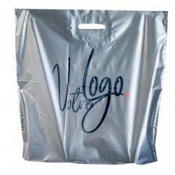 Sachet avec votre logo 350 x 450 mm argent, Poignées découpées renforcées, Impression 1 couleur, Résistant, Opaque (x1000)