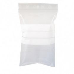 Sachet zip à bandes blanches 80 x 120 mm, Résistant, Transparent, Apte à l'alimentaire (x1000)